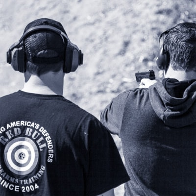 Permit to carry training class student qualifying on shooting range